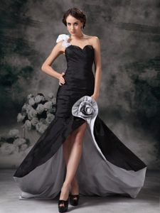 Black Taffeta Mermaid Cocktail Party Dress with Brush Train Vista