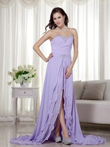Lilac High Low Chiffon Prom Cocktail Dress with a Brush Train