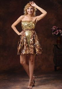 Cocktail Dress For Prom in Leopard Print Fabric and Shinning Fabric