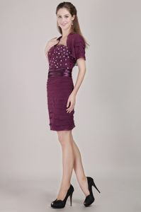 Chiffon Dark Purple Prom Cocktail Dress with Ruches and Beading