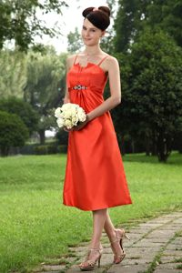 Orange Taffeta Tea-length Prom Cocktail Dress with Straps Burbank