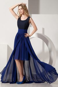 Navy Blue High-low Chiffon Prom Cocktail Dress in Scoop Neckline