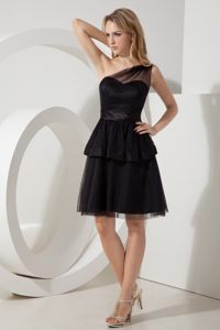 One Shoulder Black Homecoming Cocktail Dress with a Sash Kansas