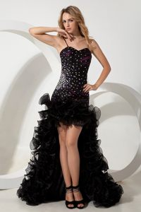 Black High-low Cocktail Reception Dress with Straps and Beading