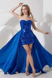 Detachable Homecoming Cocktail Dresses Decorated Sequin in Royal Blue