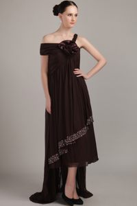 Brown Asymmetrical High-low Beading Plus Size Cocktail Dress in Empire