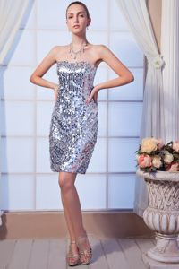Gray Column Mini Sequin Beading Cocktail Dress in Alva Clackmannanshire