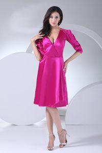 Puffy Sleeves V-neck Wedding Cocktail Party Dress in Fuchsia