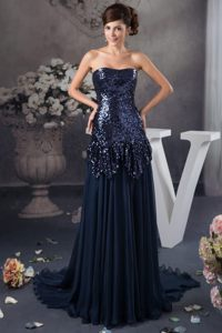 Sequins Brush Train Prom Cocktail Dress Strapless in Navy Blue