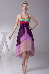 Colorful Halter Top Asymmetrical Tiered Cocktail Dress for Celebrity