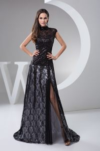 High-neck Brush Train Beaded Black Lace Cocktail Dress For Prom