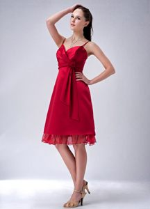 Wine Red Sheath Spaghetti Straps Short Cocktail Dress For Prom in East Rand