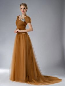 Brown Empire Square Brush Appliques Accent Cocktails Dresses in Dullstroom
