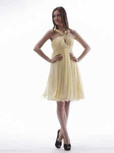 Yellow with Beaded V-neck Knee-length Cocktail Dress For Celebrity in Craighall