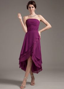 Ruching Decorate High-low Dark Purple Strapless Cocktails Dresses in Wynberg