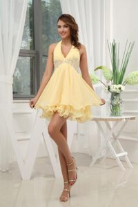 Halter Top Design Yellow with Appliques Mini-length Cocktail Dress in Worcester