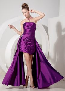 Fuchsia Column Strapless with Appliques Accent Prom Cocktail Dress in Silverton