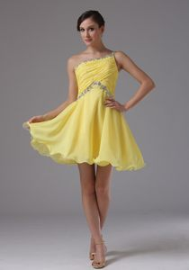 Customize One Shoulder Yellow with Ruche and Beading Cocktail Dress in Randburg