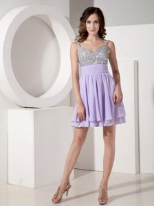 Mini-length Lilac Chiffon Beading Accent Cocktail Dress in Queenstown with Strap