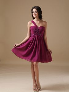 Fuchsia A-line One Shoulder Beaded Cocktail Dress For Celebrity in Potchefstroom