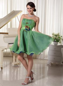 Green Cute A-line Strapless Belt Mini-length Prom Cocktail Dress in Port Alfred