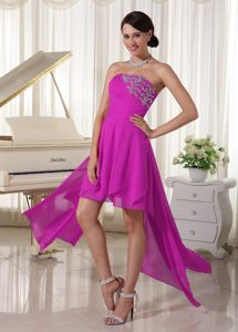 Fuchsia High-low with Beading Decorate Ruched Cocktail Party Dresses in Pongola