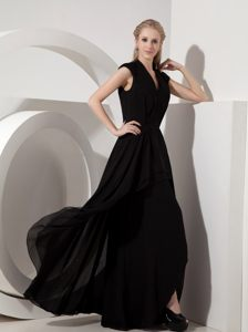 Black Column V-neck Chiffon Cocktail Party Dresses in Nelspruit for Customize