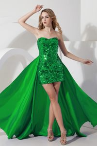 Detachable Green Sequin over High-low Cocktail Party Dresses in Langebaan