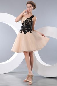 One Shoulder Appliques Champagne Cocktail Dress For Celebrity in Kimberley