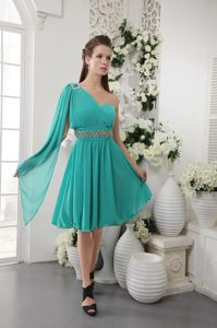 Turquoise One Shoulder Short Beaded Evening Cocktail Dress in Jeffreys Bay
