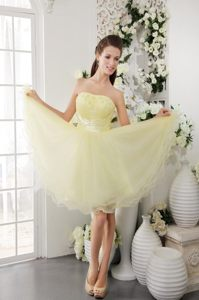 A-Line Strapless Mini-length Beading for Light Yellow Cocktail Dress in Howick