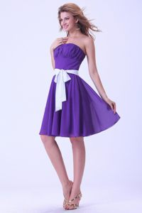 Pleats and White Sash for Purple Chiffon Knee-length Cocktail Dress in Craighall