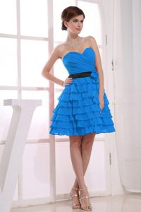 Sweetheart A-Line Ruffles Accent Teal Homecoming Cocktail Dresses in Citrusdal