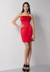 Column Flowers for Mini-length Red 2013 Cocktail Dress For Prom in Centurion