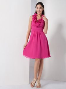 Hot Pink A-line Halter Ruche Accent Knee-length Prom Cocktail Dress in Cathcart