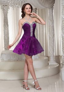 Purple Cocktail Dress For Celebrity in Nelson with Rhinestones for Customize
