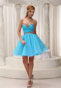 Ruched and Leopard Baby Blue Mini-length Prom Cocktail Dress in Tauranga