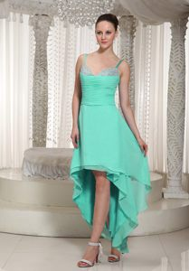 High-low Turquoise Beaded Cocktail Dresses with Spaghetti Straps