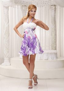 Halter Colorful Printing Ruched Cute Cocktail Dress For Party