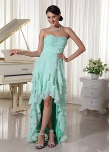 Apple Green Chiffon Layered High-low Beading Ruched Cocktail Dress