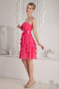Layered Chiffon Hot Pink Ruched Sash Cocktail Dress in Shepparton