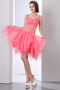 Asymmetrical Organza Beaded Watermelon Cocktail Dress with Straps
