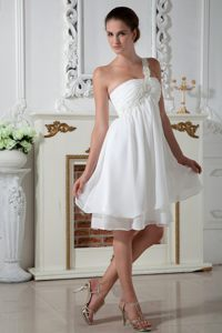 Appliques One Shoulder White Chiffon Mandurah Short Cocktail Dress