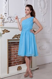 Aqua Blue Ruched One Shoulder Chiffon Evening Cocktail Dresses