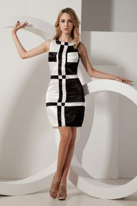 Square Black and White Taffeta Ruched Geraldton Prom Cocktail Dress