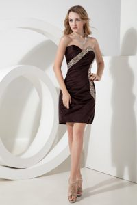 Brown Sweetheart Beaded Satin Short Prom Cocktail Dress in Perth