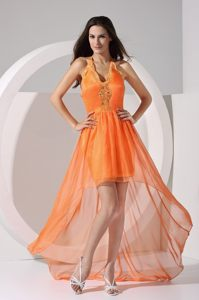 Appliques Halter V-neck High Low Orange Caledon Cocktail Dress