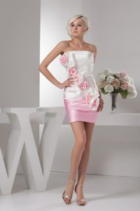Taffeta Flowers White and Baby Pink Cocktail Dress in Devonport