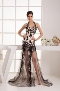 Appliques Ivory Halter Tulle Lovely Cocktail Dress with Brush Train