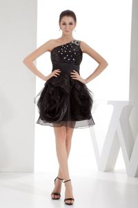 Beaded Ruffles One Shoulder Black Cocktail Dress in Toowoomba QLD
